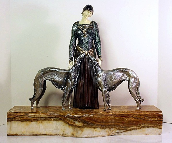 Diane & the Dogs - Bronze and Ivory Sculpture by