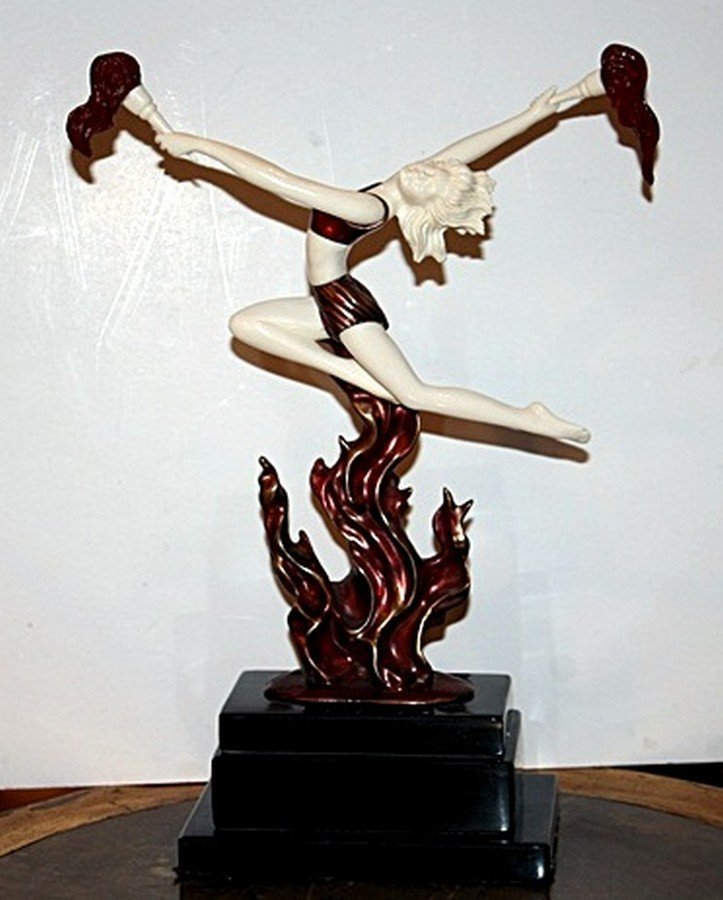 Flame Leaper - Bronze and Ivory Sculpture by Preiss