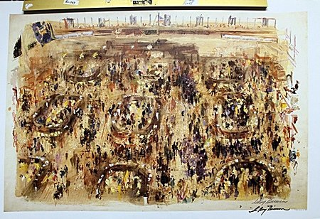 Stock Market Art Double Signed By LeRoy Neiman AR225