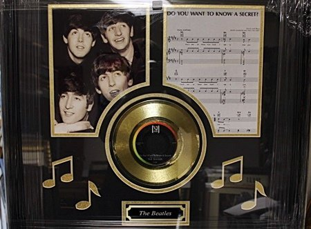 Framed The Beatles Giclee with Gold Record, Music Notes