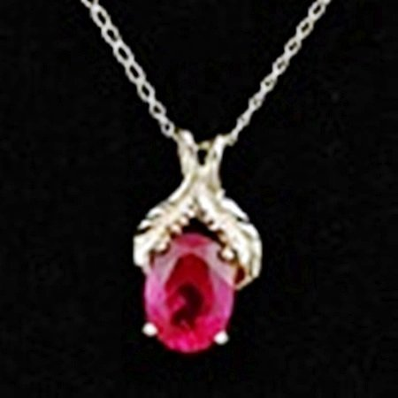 Created Ruby Pendant & Chain Necklace in 10K Gold