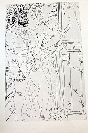 """Three Customer Figueres"" Lithograph by Pablo Picasso"