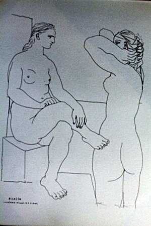 """Two Woman"" Lithograph by Pablo Picasso (74DC)"
