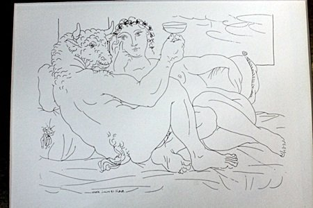 """Drinking minataus"" Lithograph by Pablo Picasso(75DC)"