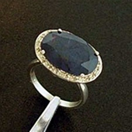 Genuine Blue Sapphire & Diamond Ring in Sterling Silver