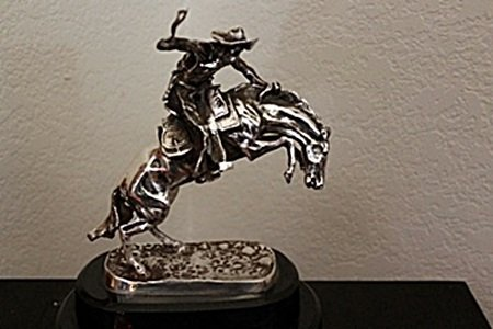 "Stunning Silver Sculpture ""Bronco Buster"" By Frederic"