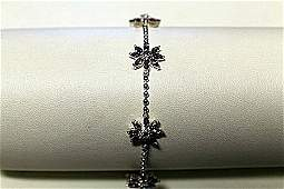 """Stylish Modern White Gold over Silver """"Flowers Design"""""""