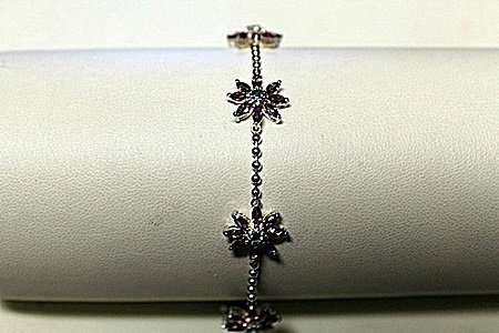 "Stylish Modern White Gold over Silver ""Flowers Design"""