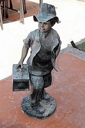 Large Bronze Sculpture- Boy With Lunch Box By Moreau
