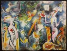 OrignalMixed Media on Canvas By Roberto Matta