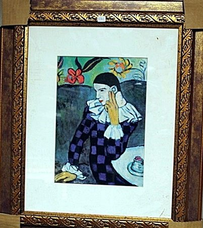 Framed By Picasso- Leaning Harlequin Glicee Print (5BO)
