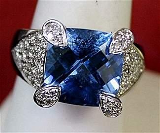 Lady's 14K White Gold Blue Topaz/Diamond Ring