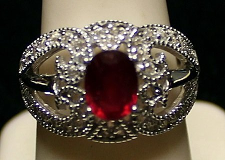 Beautiful Pigeon Blood Ruby with White Sapphires Ring.