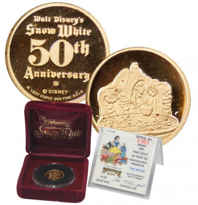 Walt Disney's Snow White 1/4 oz Gold Coin W/ Box & COA