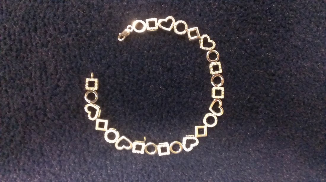 Womens 14k White Gold over Sterling Bracelet