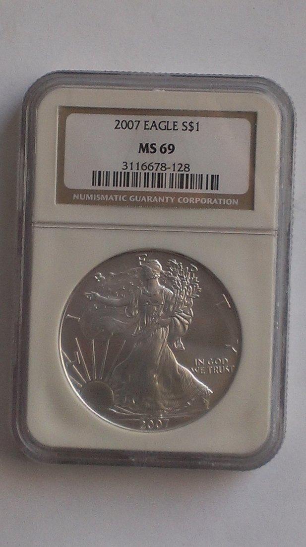 2007 Silver American Eagle NGC MS69 - 1 oz Silver