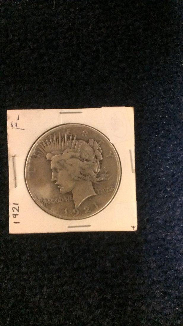 1921 $1 Peace Silver Dollar - Fine