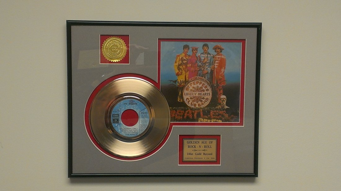 """Beatles """"Sgt Pepper's"""" Framed Ltd. 24K Gold Record COA"""