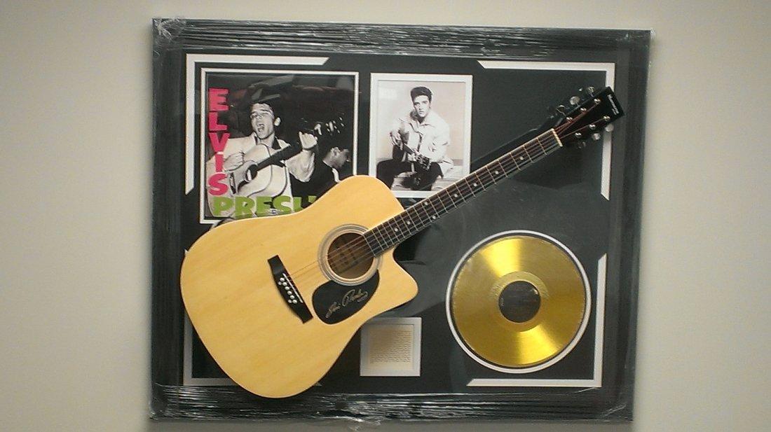 Elvis Presley Autographed Guitar and Glod Album