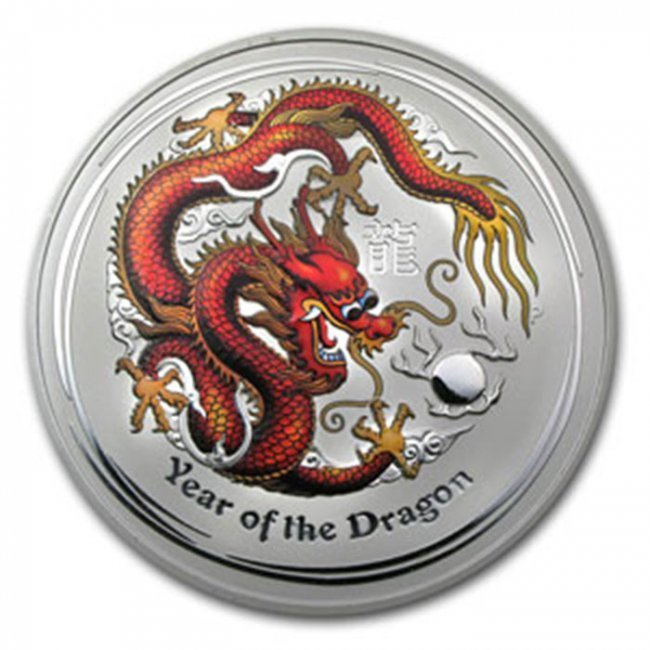 2012 1Kilo Silver Australian Year of the Dragon Coloriz