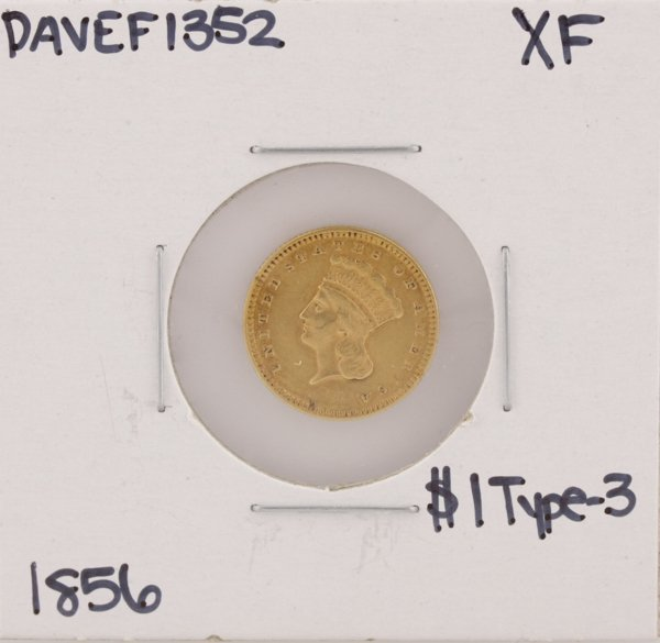 1856 $1 Type-3 XF Liberty Head Gold Coin