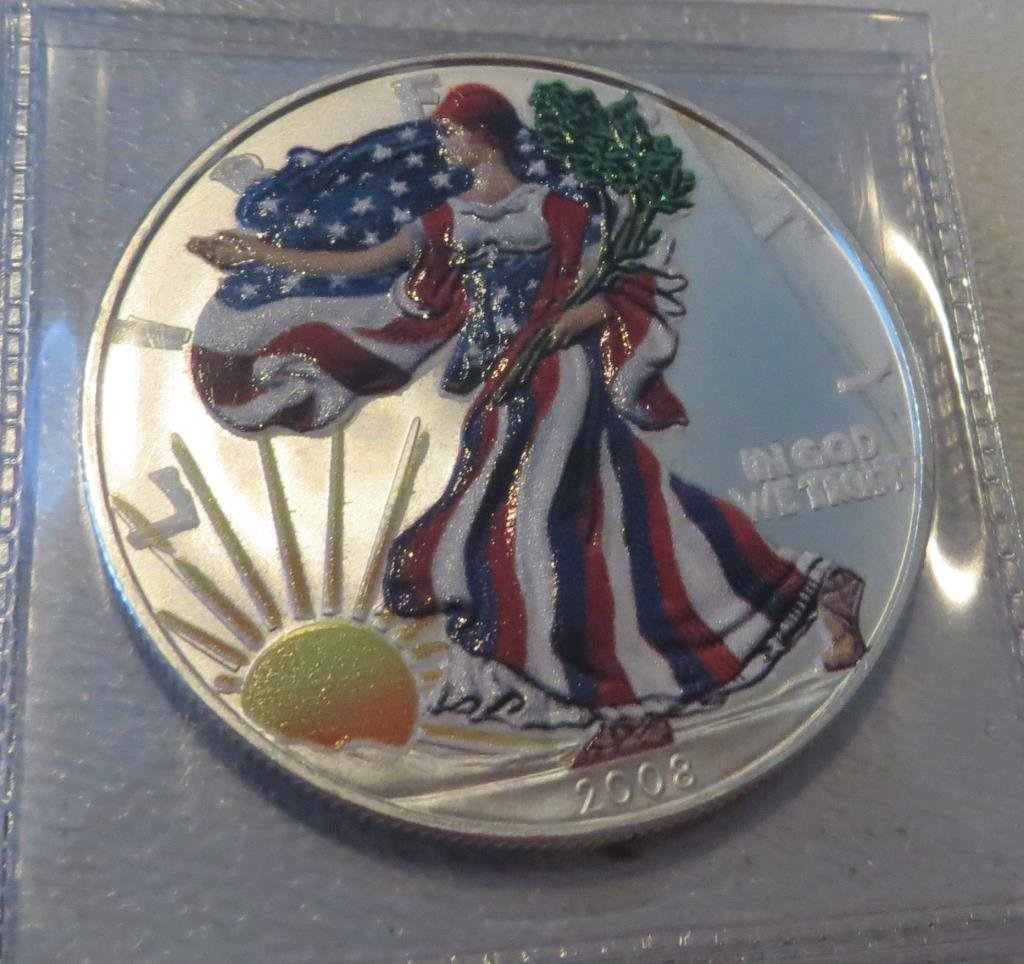 2008 Walking Liberty Silver Eagle Painted - 1 Troy oz
