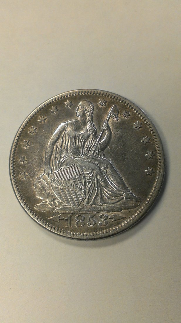 1853 Seated Liberty Half Dollar AU