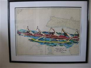 Leroy Neiman - Outrigger canoe