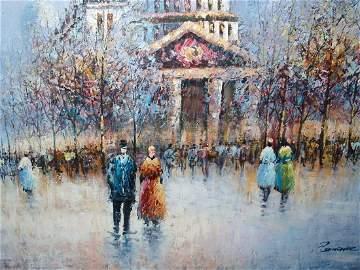 Paris Street Scene Oil on Canvas