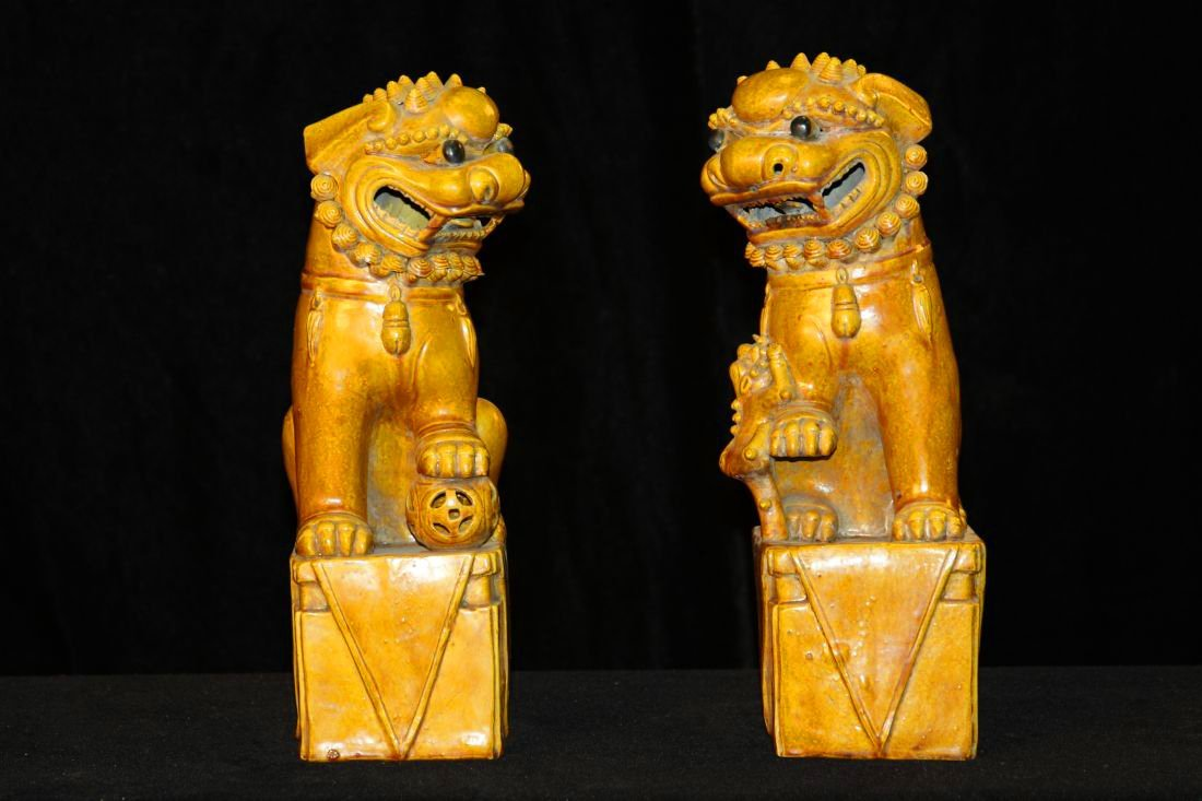 Pair Yellow Glazed Lions (Qing)