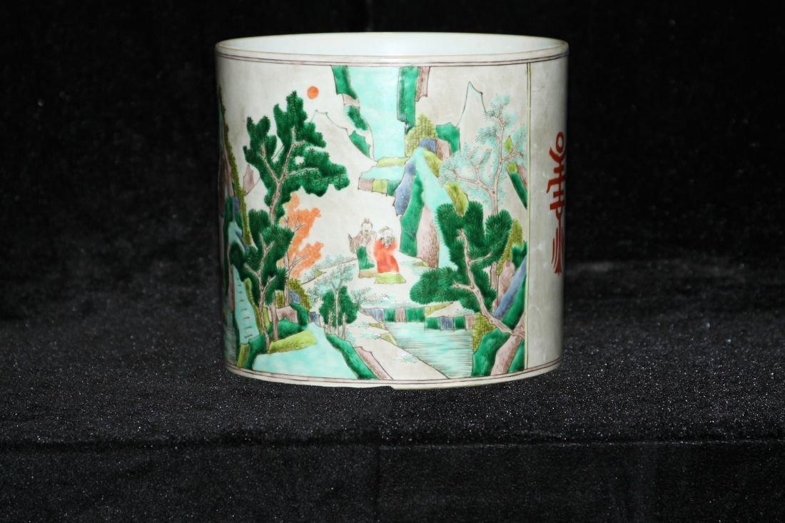 Kang Xi Five Colored Brush Pot