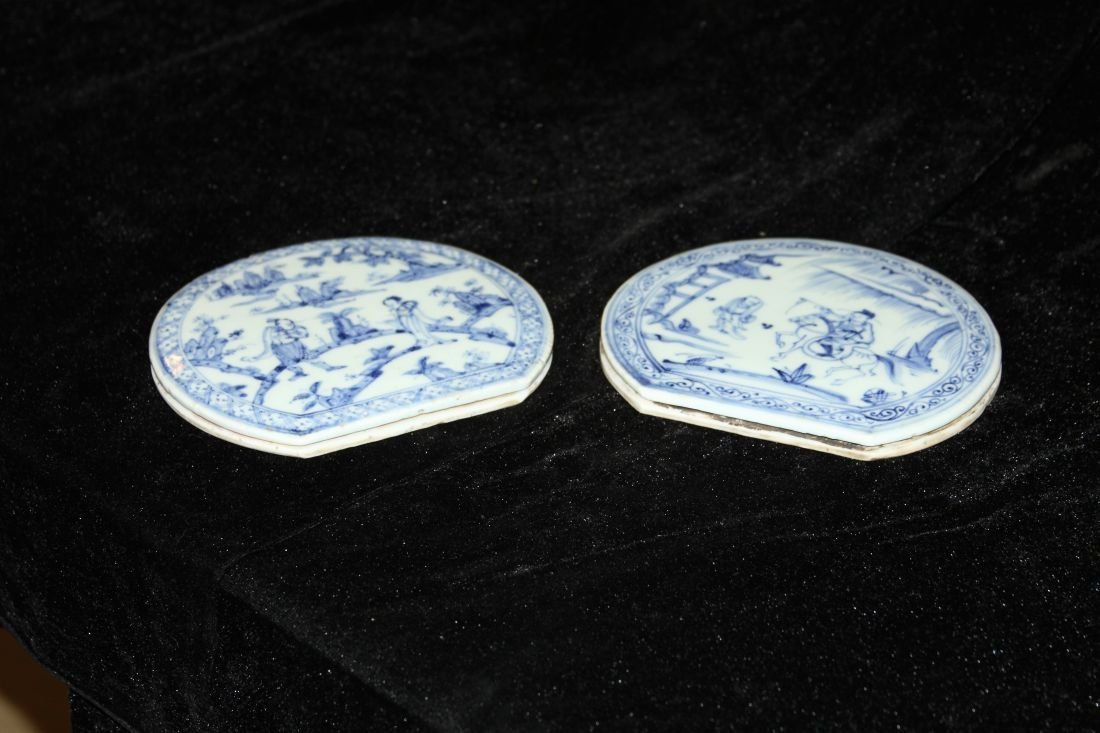 Pair of Blue and White Bed Decorations (Ming)