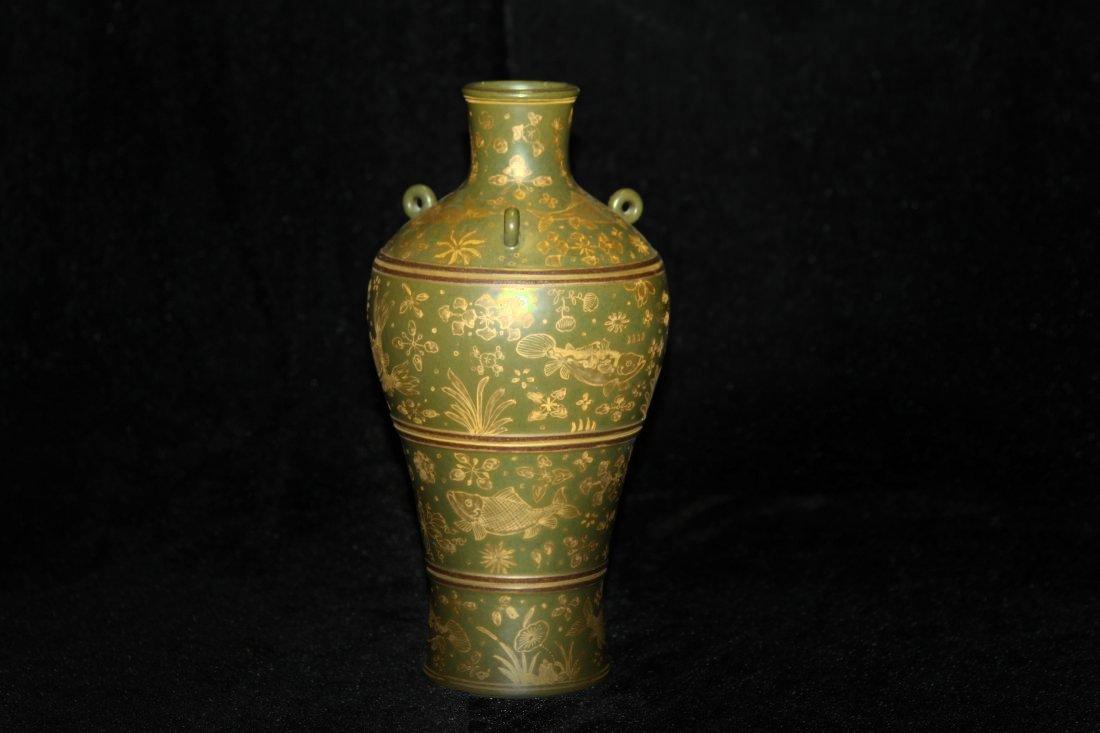 Gilt Green Tea Powder Patterned Jar (ROC)