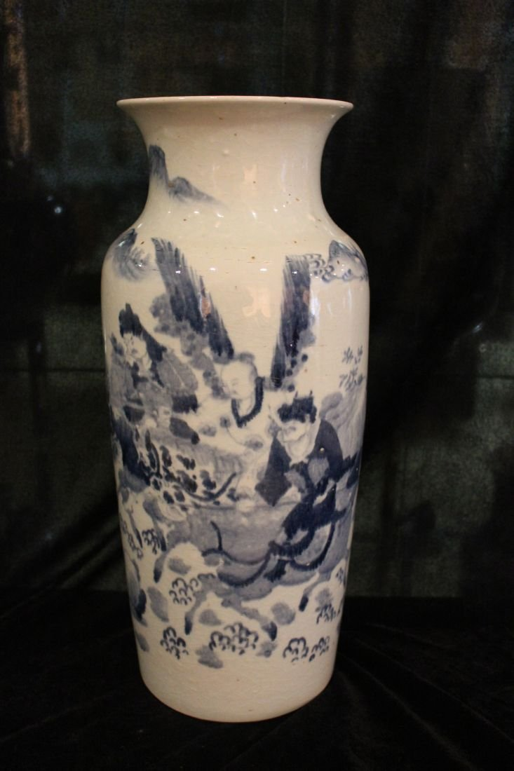 Blue and White Fighting General Vase