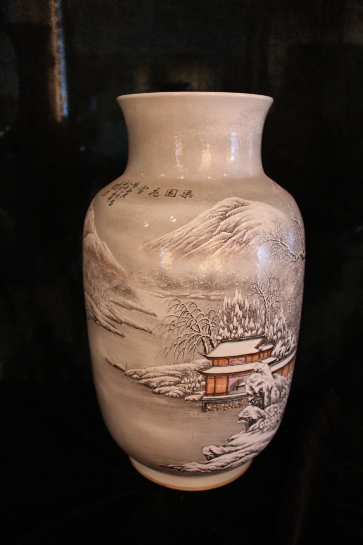 Famille Rose Vase with Snowy Scenery