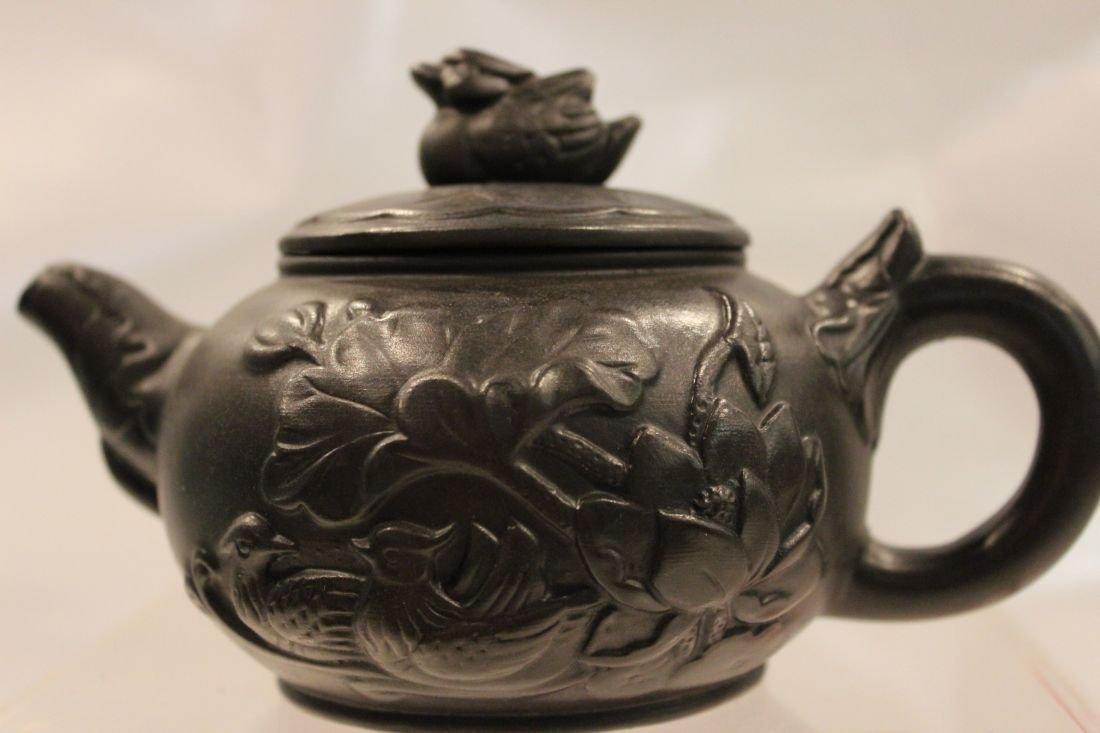 Black I-Hsing teapot with Mandarin Duck