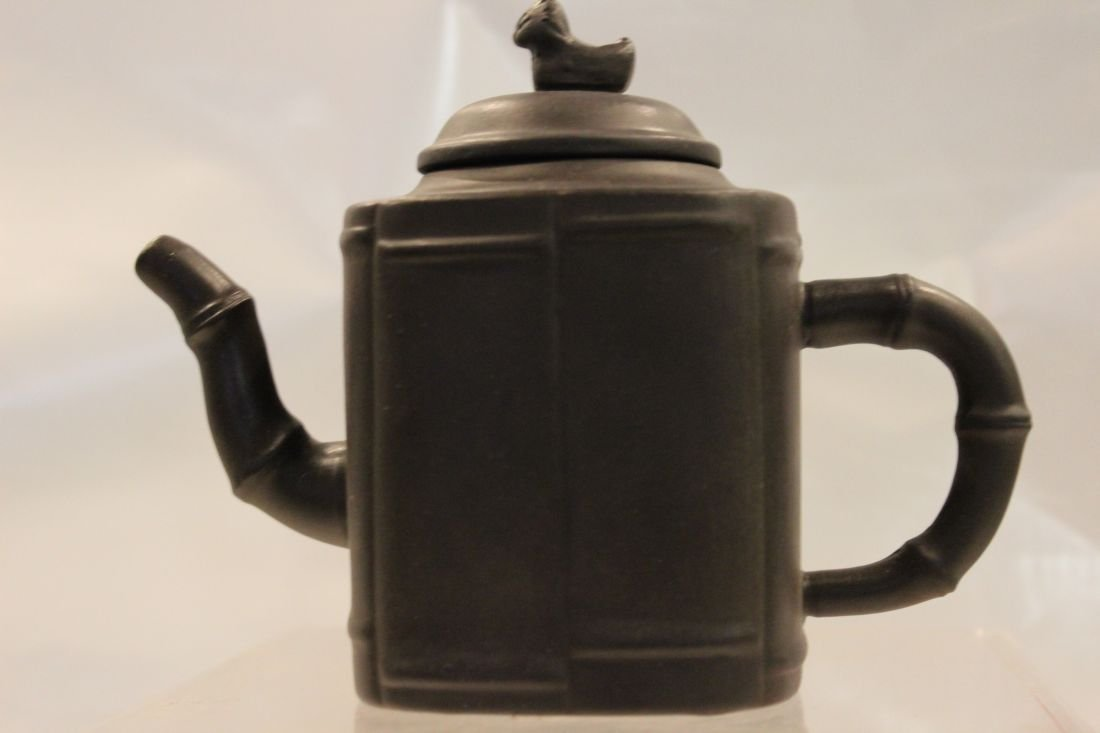 Black I-Hsing teapot with Mandarin Duck and Bamboos