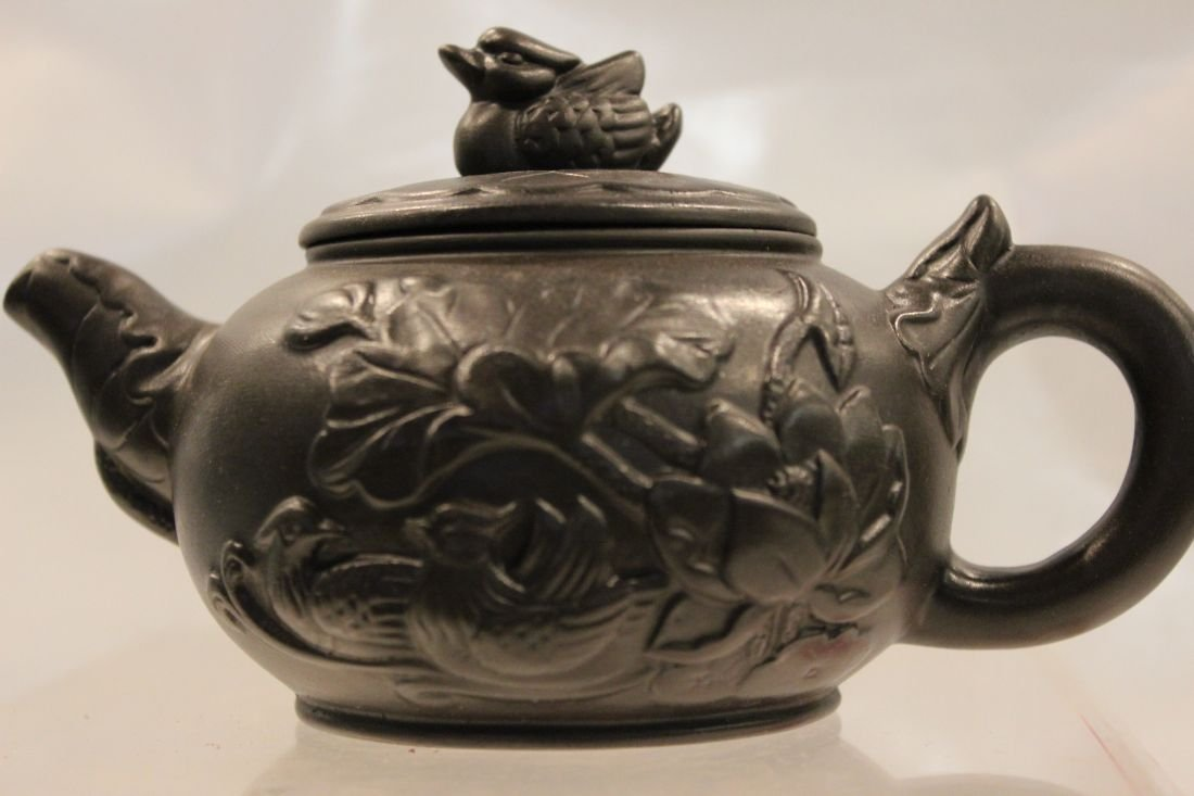 Black I-Hsing teapot with Mandarin Duck and Lilies