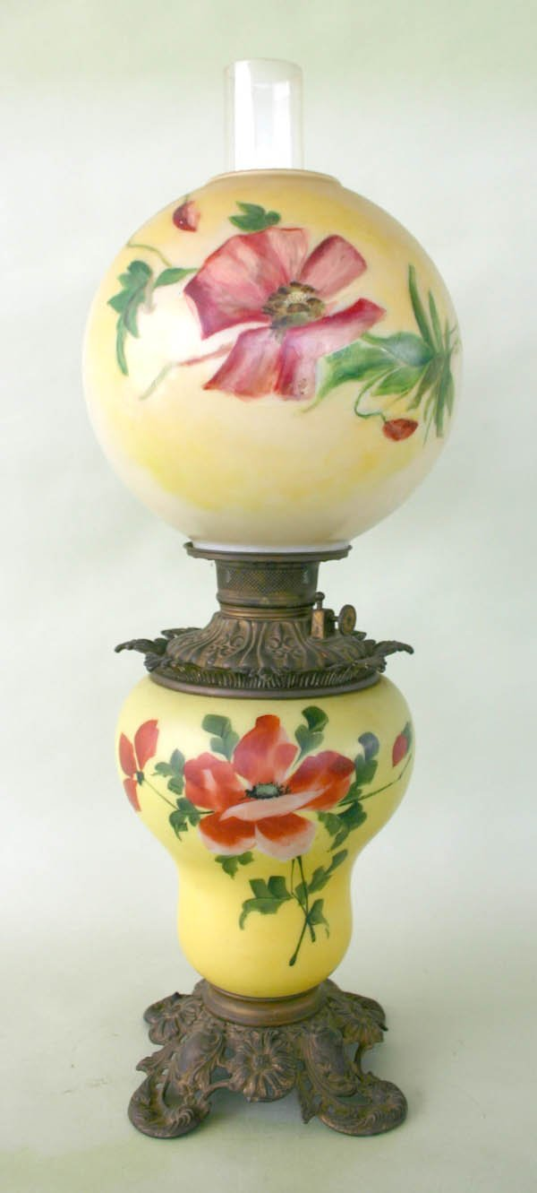 """2: Antique Gone with the Wind Lamp 26.75""""h"""