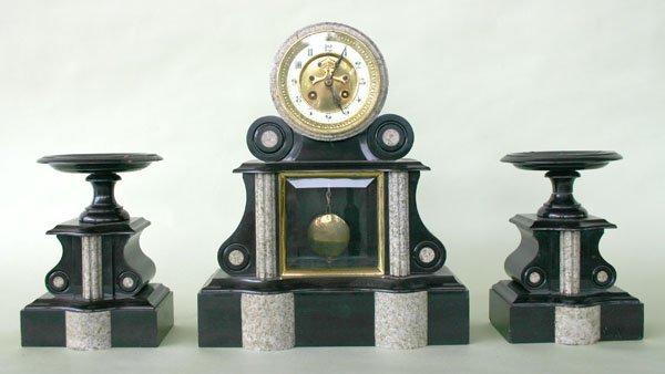3: Three Piece Art Deco Marble Clock Set