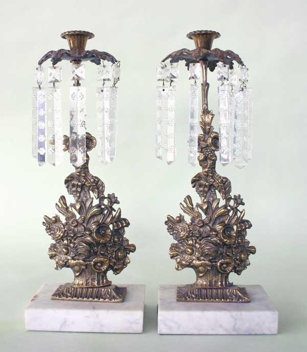 """8: Pair Bronze Girondoles w/Prism's 15""""h x 6""""w"""