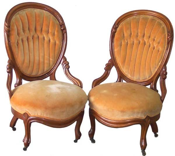 12: Pair Walnut Finger Carved Victorian Chairs