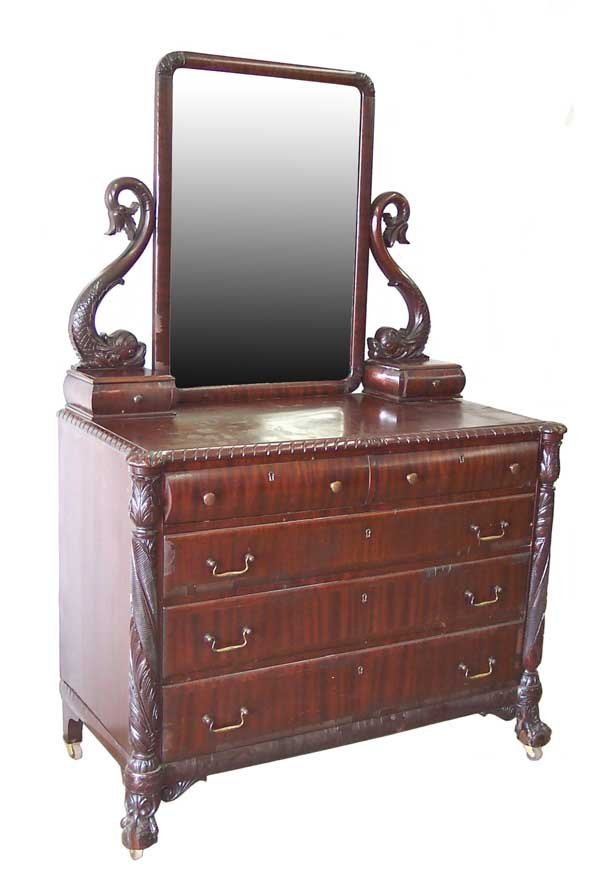 16: Mahogany Dolphin Carved Mirrored Dresser