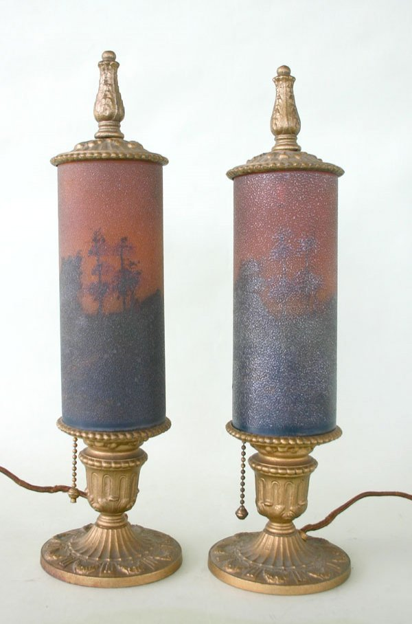 """17: Pair Antique Torchiere Lamps Attr. Pittsburgh 14""""h"""
