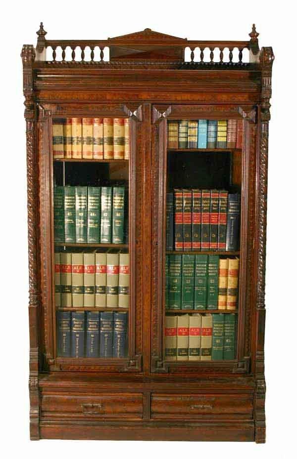 19: Victorian Two Door Walnut Bookcase