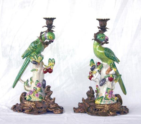 """21: Pair Porcelain Parret Candle Holders 7.5""""h"""
