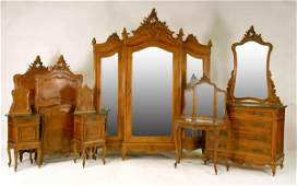91: French Louis XV Walnut Rococo Carved Bedroom Suite
