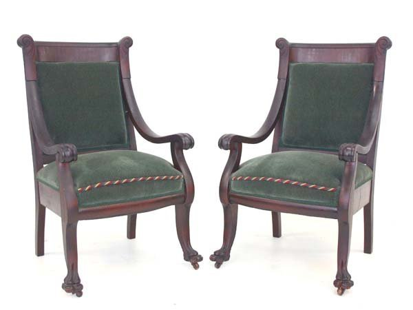 9: Empire Revival Mahogany Fire Side Chairs