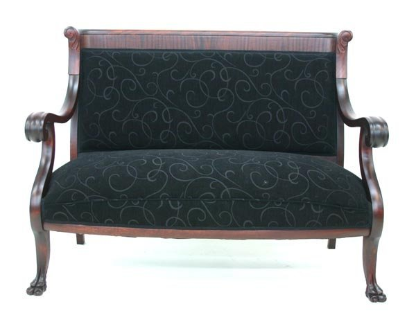 10: Pair Empire Revival Mahogany Claw Foot Settee