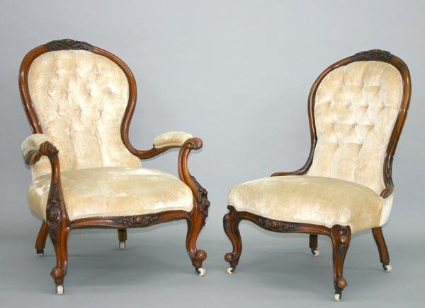 19:Victorian Louis XV Carved Mahogany Parlor Chairs